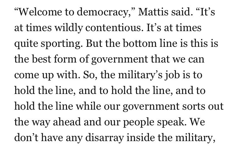 Quite a statement by Mattis.