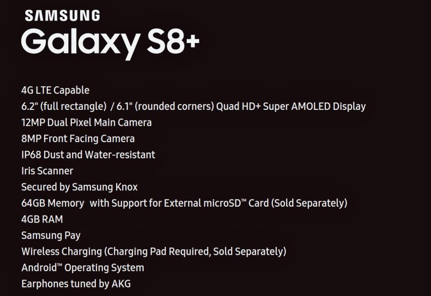 Samsung Galaxy S8+ spec sheet. Impress your friends, confound your...