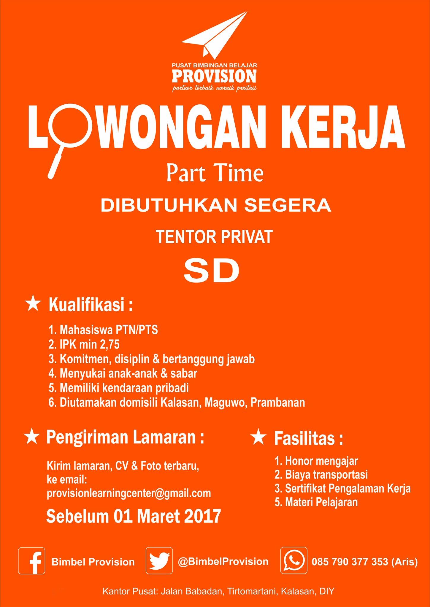 Loker Part Time Jogja : loker, jogja, Lowongan, Kerja, Parttime, Jogja:, Jogja, Tentor, Malam