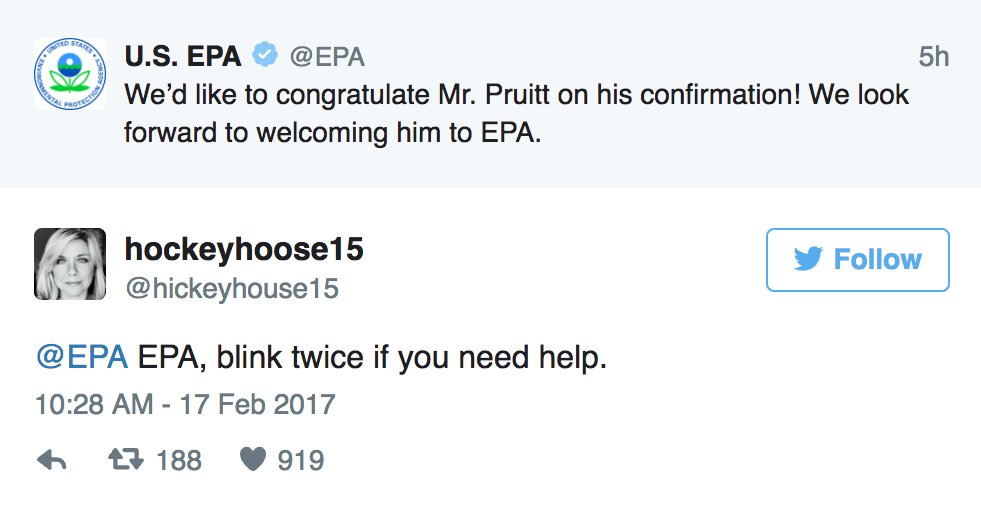 ICYMI –– The EPA finally tweeted again, and people had the best responses: