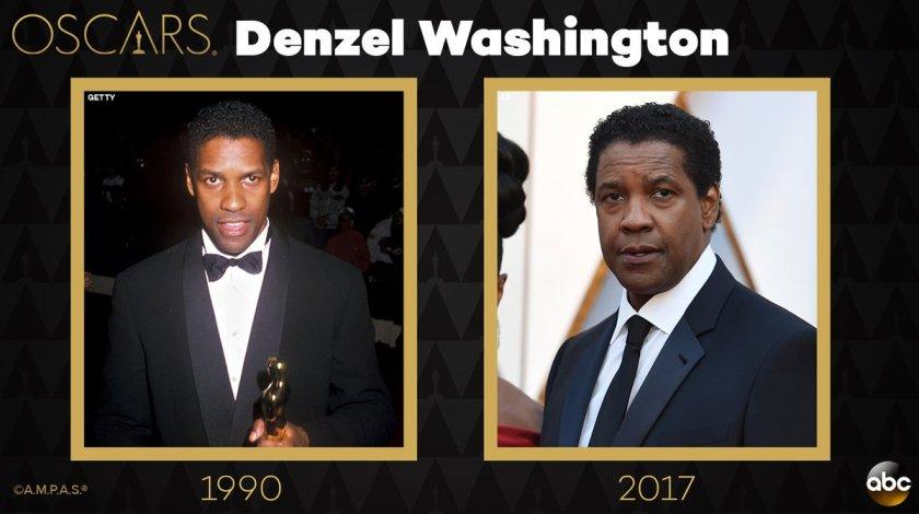 #Oscars flashback: Denzel Washington 27 years ago on the red carpet and now tonight!