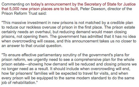 Read our comment on today's prison building announcement