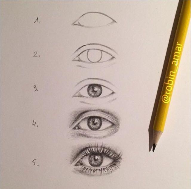 كيفية رسم العين بالقلم الرصاص