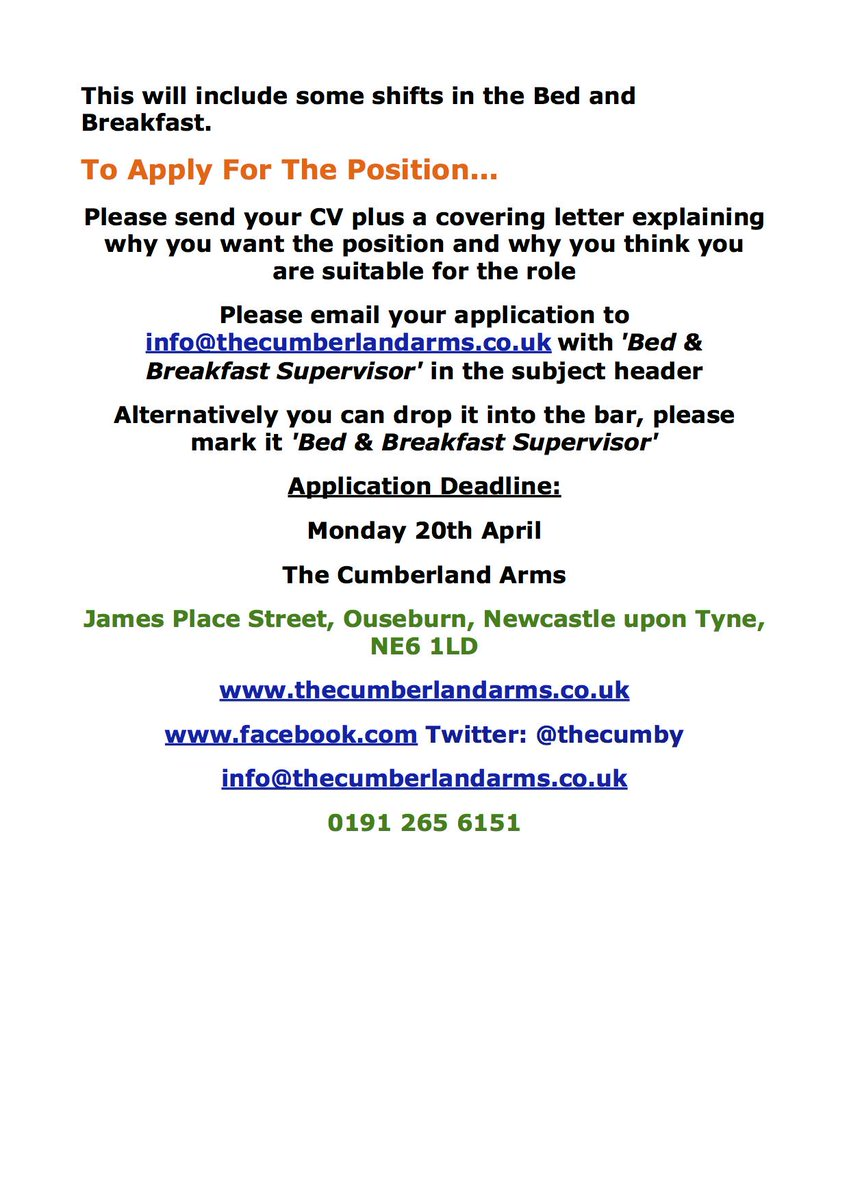 Bar Supervisor Cover Letter The Cumberland Arms On Twitter