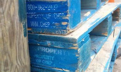 Used Blue Chep Pallets Wood | Wooden Thing