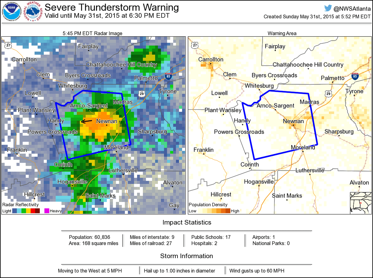 hight resolution of nws atlanta on twitter severe thunderstorm warning including newnan ga plant yates ga arnco sargent ga until 6 30 pm edt http t co yysl6cvmyx