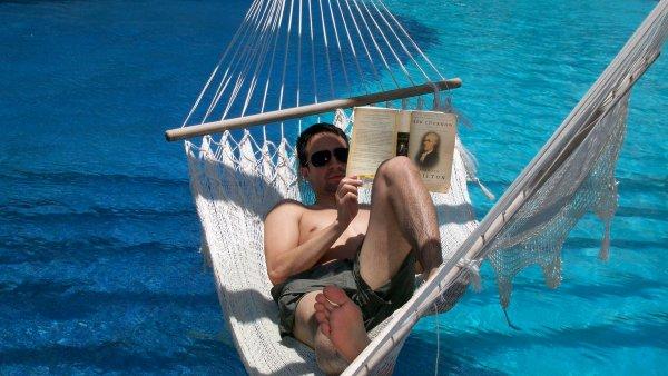 Lin-Manuel Miranda reading Alexander Hamilton by Ron Chernow