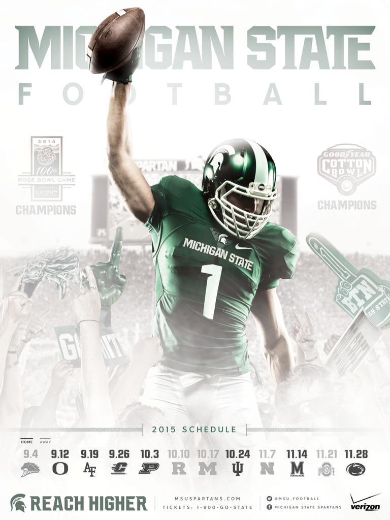 2015 michigan state football poster