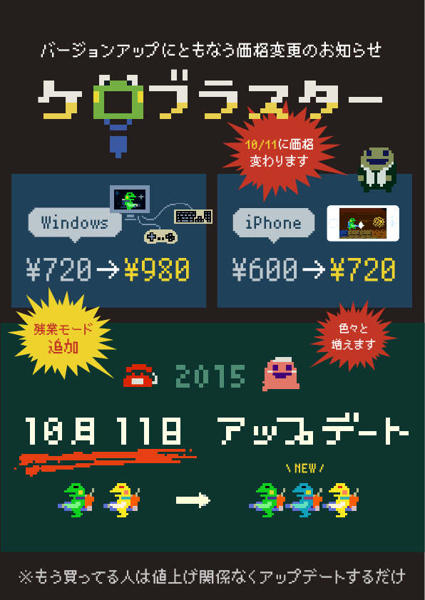 Japanese ad informing of Kero Blaster price increase on Windows and iPhone