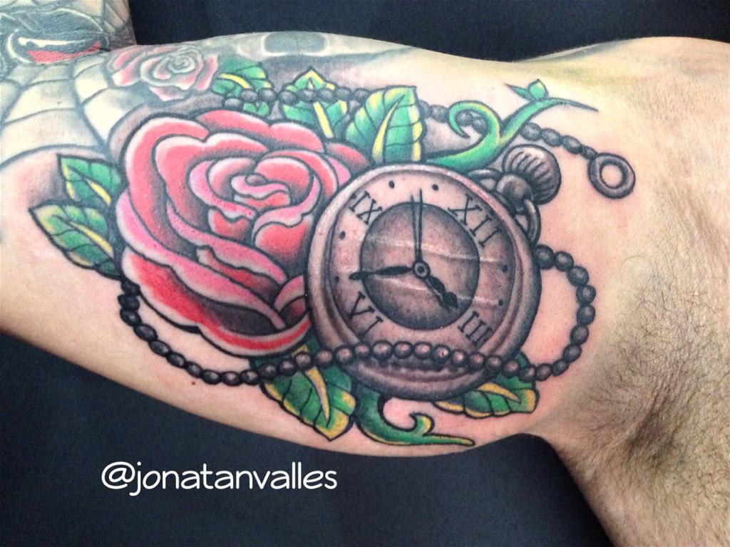 Jonatan Valles P On Twitter Rosa Reloj Tatuaje Color