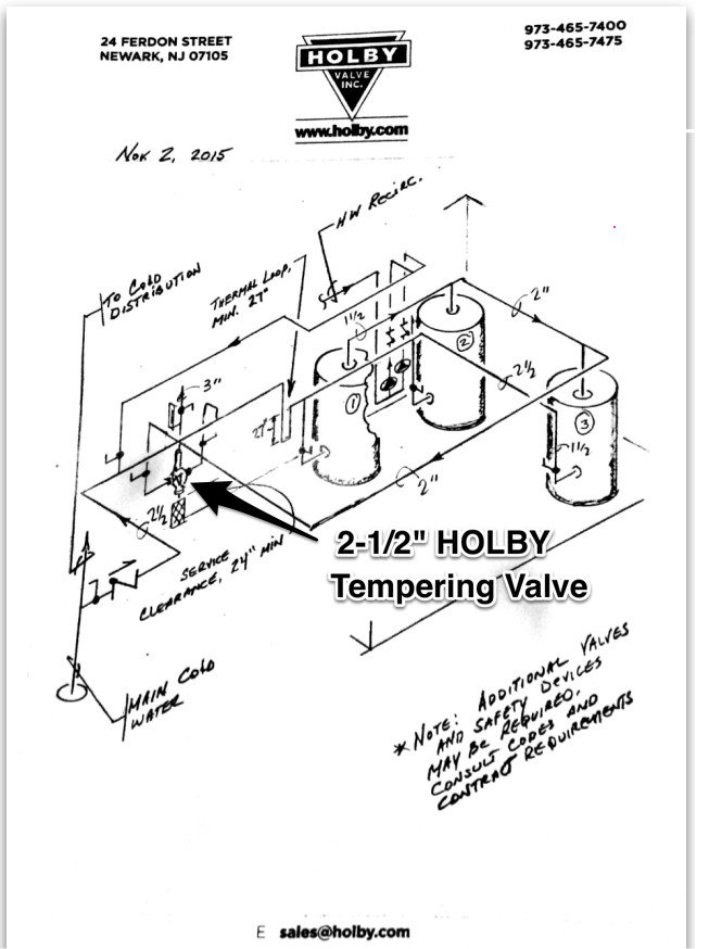 Water heater manual: Holby mixing valve piping diagram