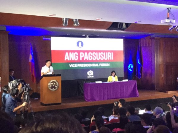 Chiz Escudero speaks at the Vice Presidential Forum at the UP College of Law. Photo by Anton Onato.
