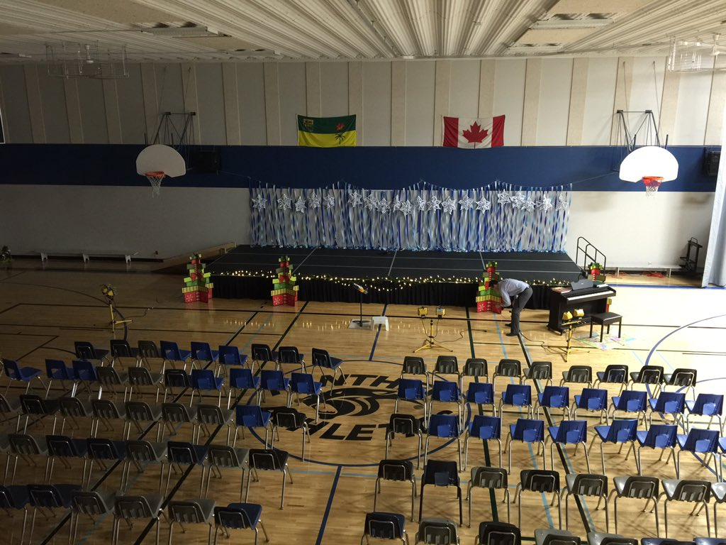 chair gym setup oversized aluminum rocking preeceville school on twitter is all set up for our christmas
