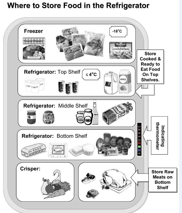 Organize your fridge to prevent x-contamination! where to