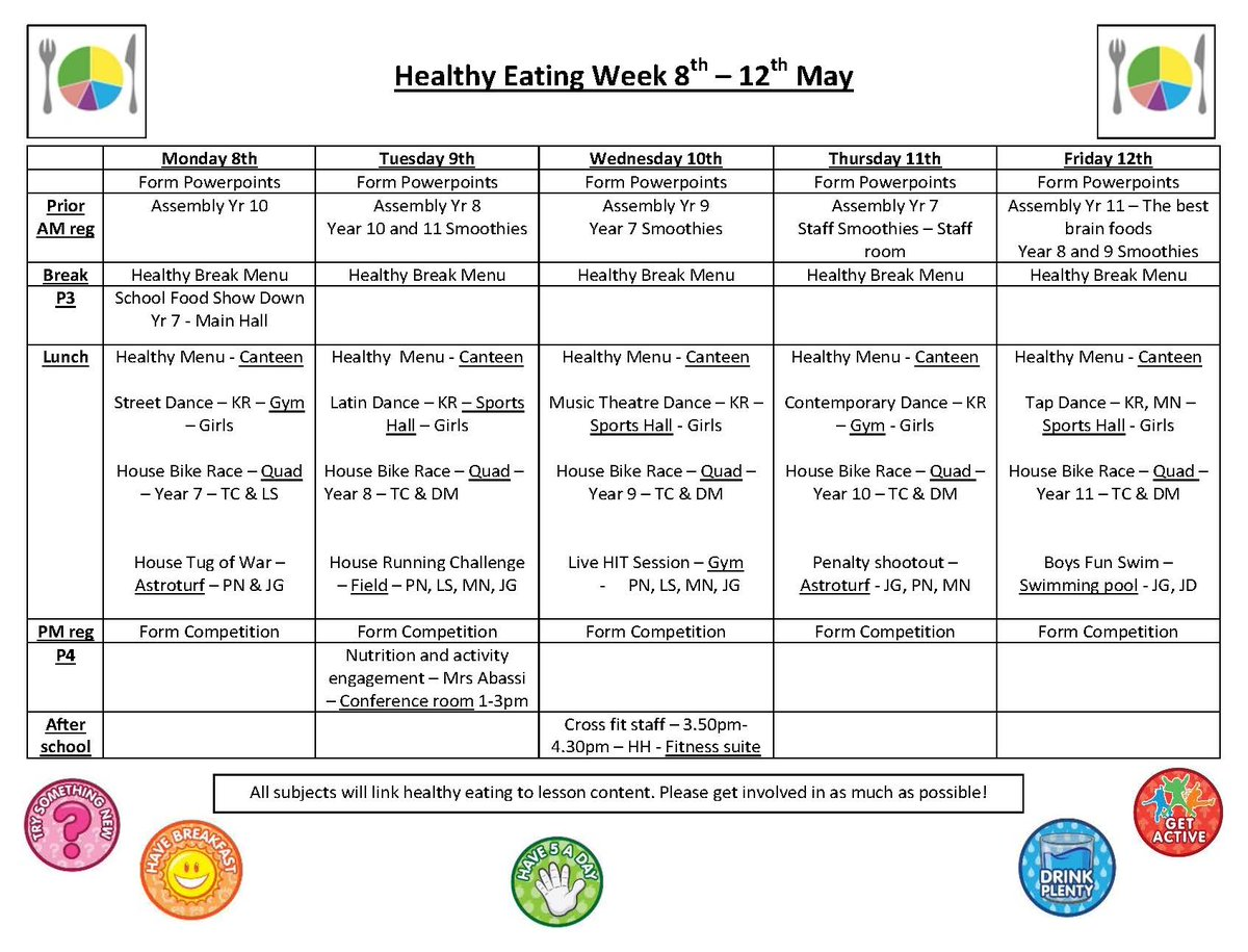 Denbigh High School On Twitter Healthy Eating Week This
