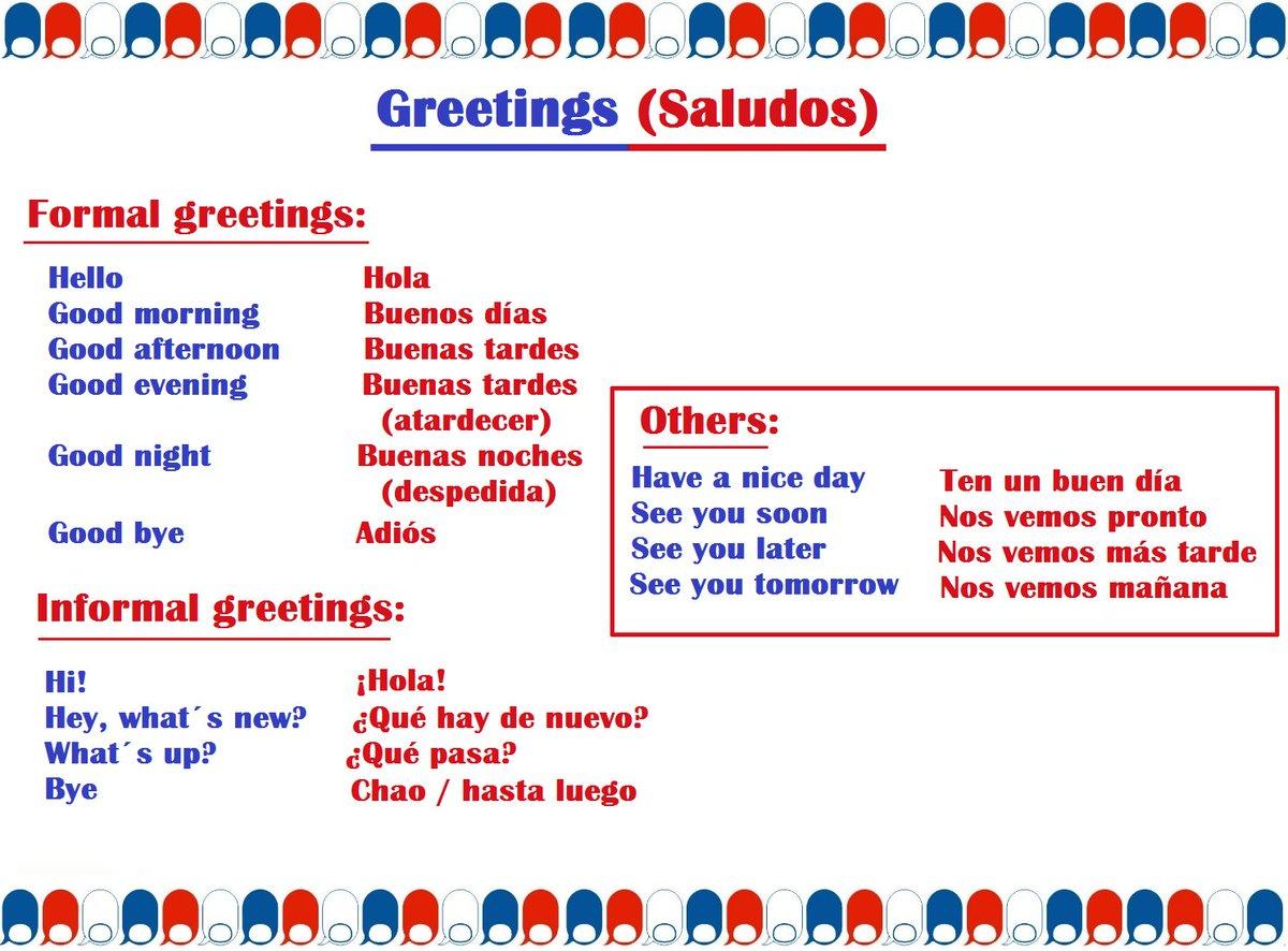 Tamesis English On Twitter Greetings Los Saludos Y