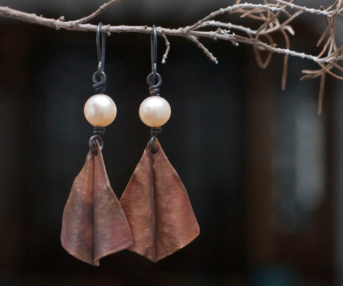 Rustic copper, silver and natural pearl earrings    #etsymntt #growthpromoter #bigdata