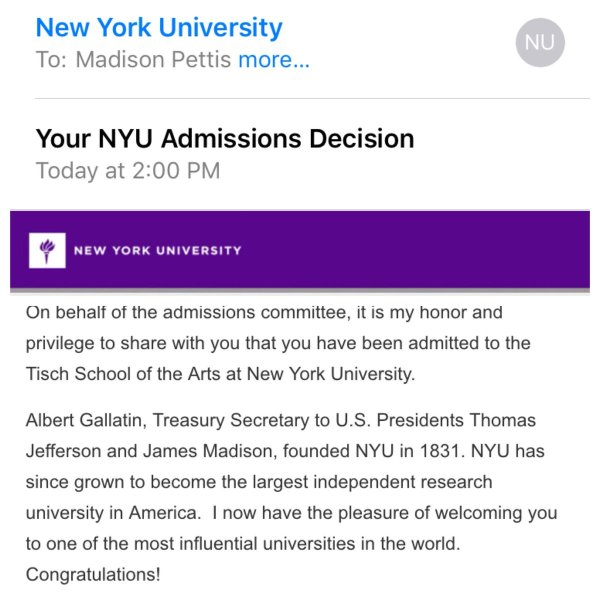 Nyu Acceptance Into - Year of Clean Water