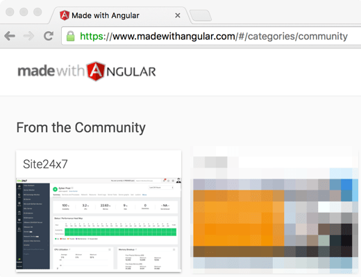 Site24x7 is powered by @AngularJS and we are excited to be featured on @MadeWithAngular