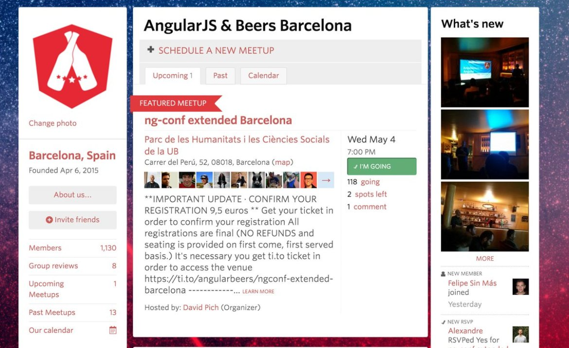 1 year in, #AngularBeers now has 1,100+ Members. A great milestone! Join us  #Community