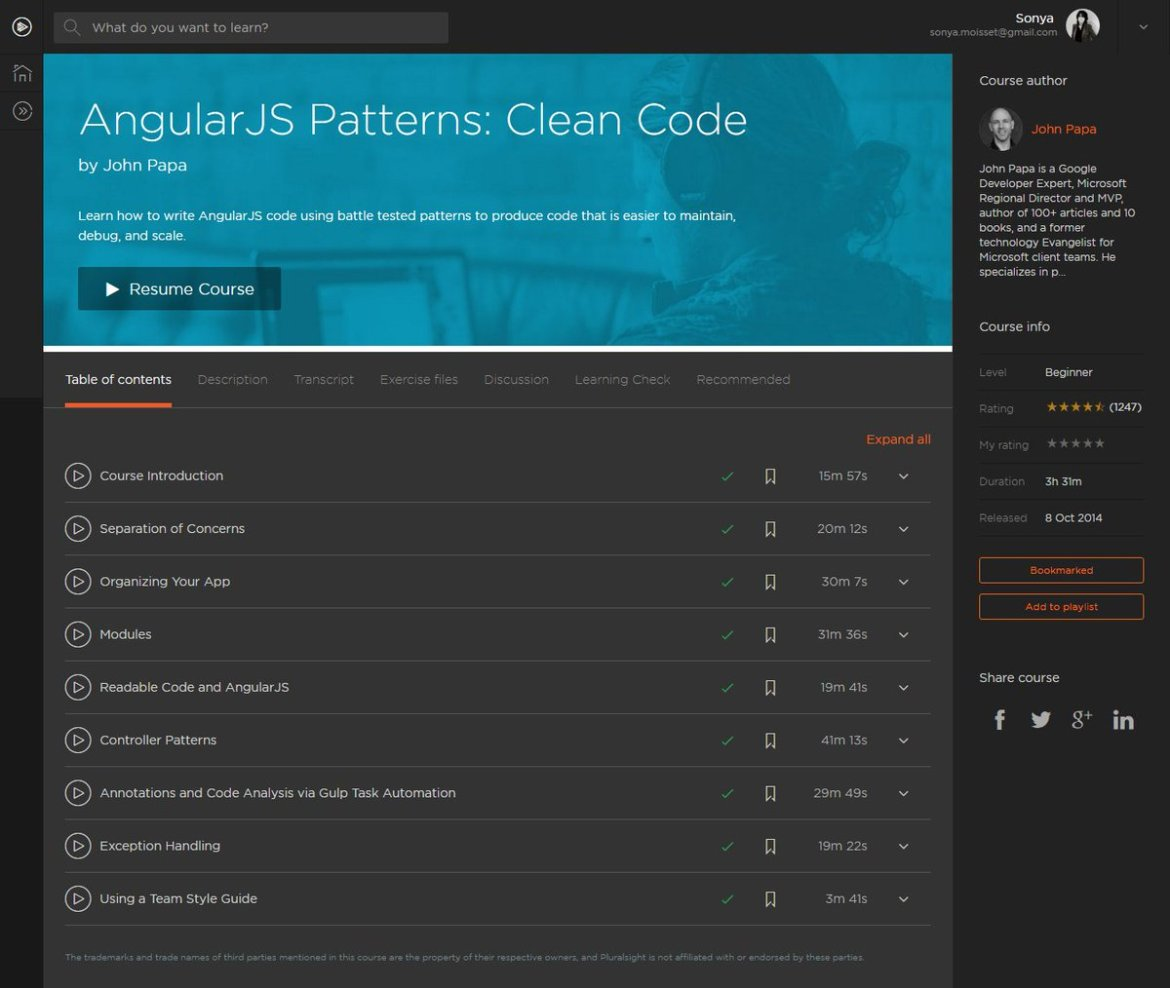 #AngularJS Patterns: Clean Code | COMPLETED @John_Papa @pluralsight