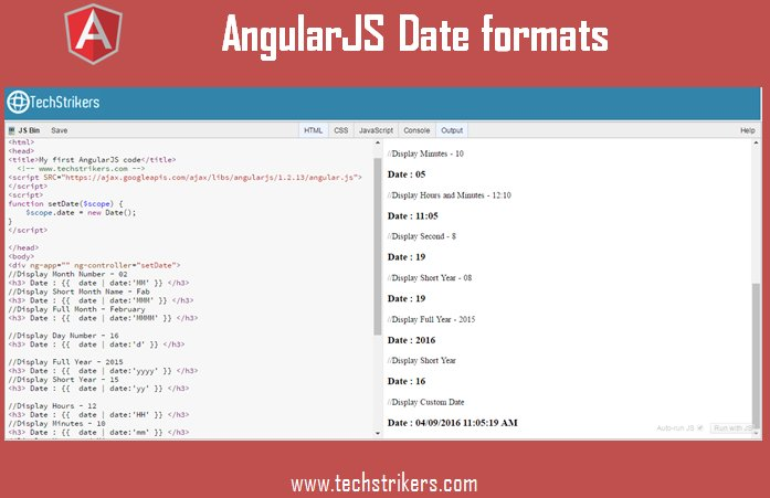 #techstrikers Different date formats using AngularJS date filters with examples