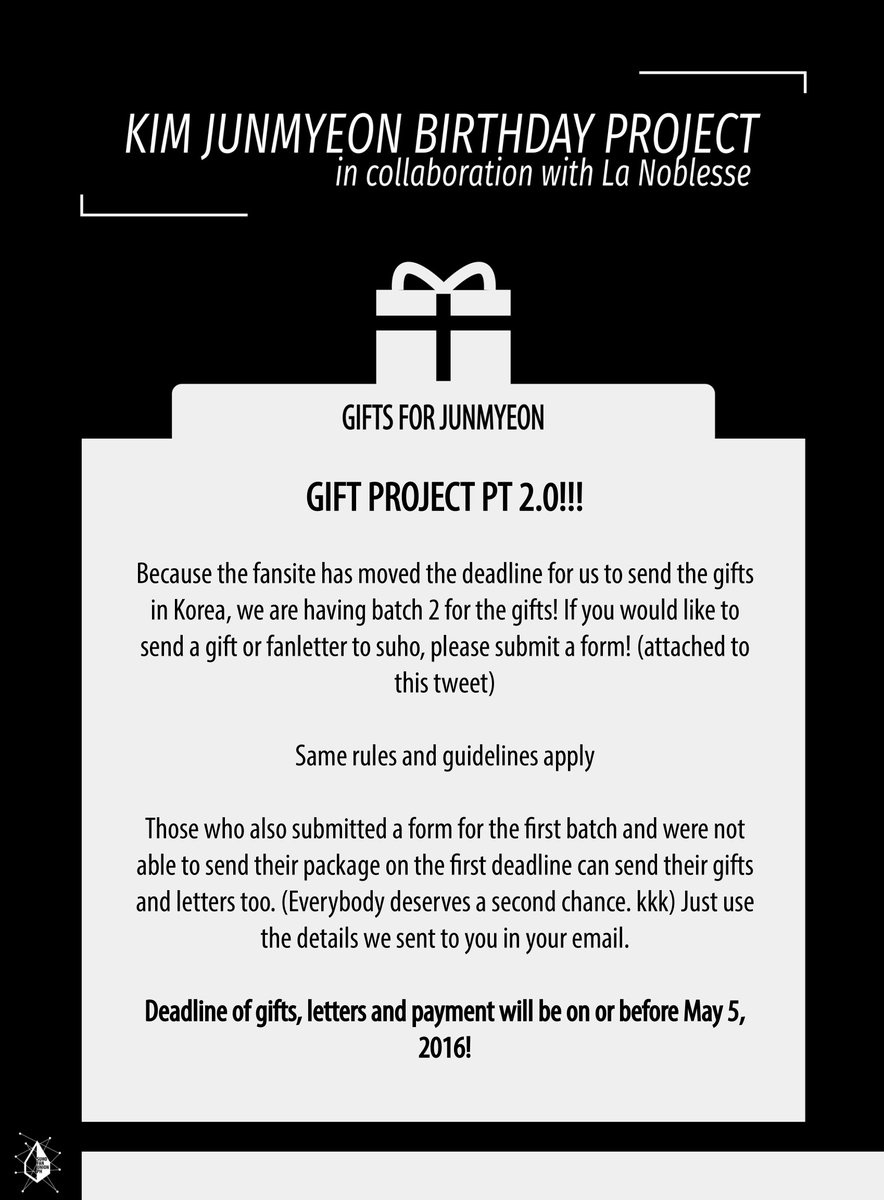 Gifts For Junmyeon 2.0 / Your Last Chance Of Sending Your Gifts! Better Not  Miss! Form: Http://bit.ly/1Spuovt Pic.twitter.com/xicwscaiu8