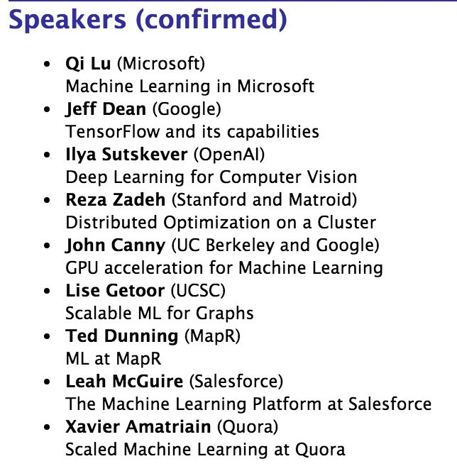 Happy to assist the organizers of the Scaled Machine Learning Conf @Stanford on August 2nd