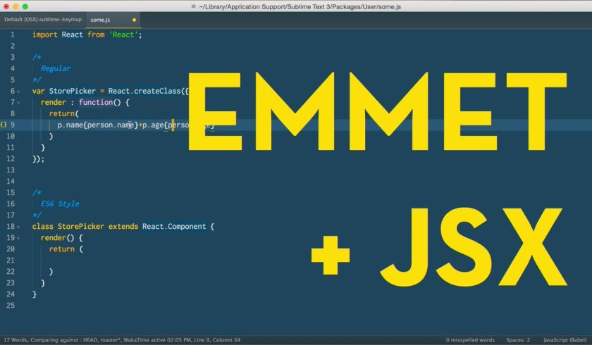 Use Emmet with #ReactJS JSX in Sublime Text: