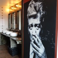 "Robert Hakalski on Twitter: ""@ThatsOurWaldo. Smokin' in the boys room. Lynch photo spotted at Brick & Mortar restaurant in the Eraserhood. https://t.co/XhzOa0jOFy"""
