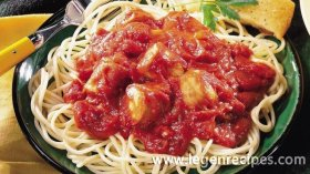 Slow-Cooked Italian Sausage Pasta Sauce with Spaghetti -
