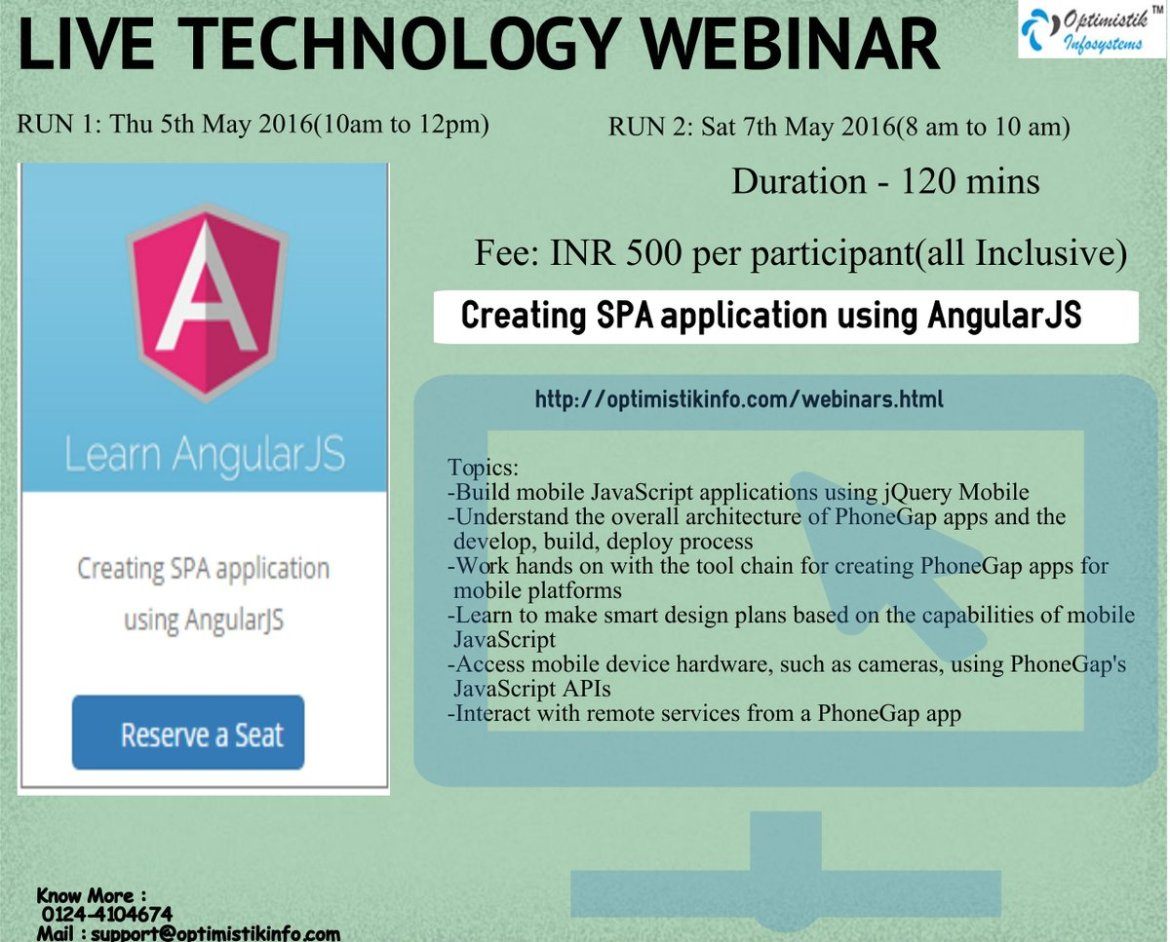 To Attend Live Webinar-Getting Started with  using AngularJS-5thmay16 10amto12pm-To Register-