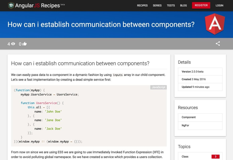 Establish communication between components in #angular2 using ES5