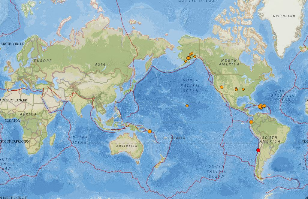 Real-time earthquake map lets you view recent events. Use Settings to customize your view.