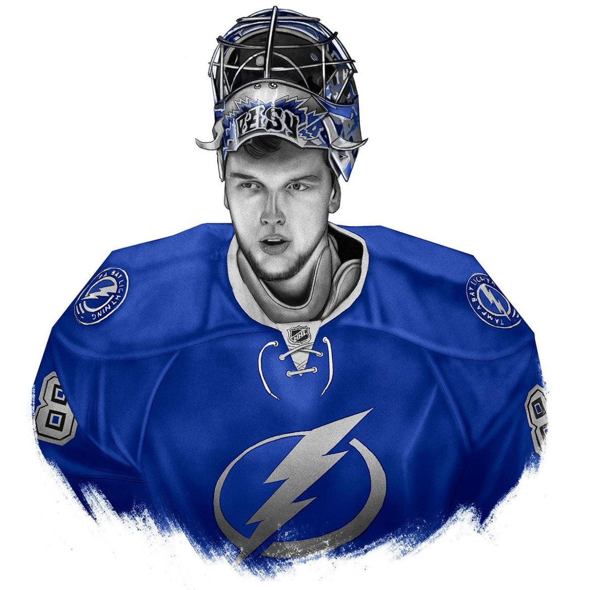 Enjoy our exclusive illustration of @TBLightning goalie Andrei Vasilevskiy.  #GoBolts