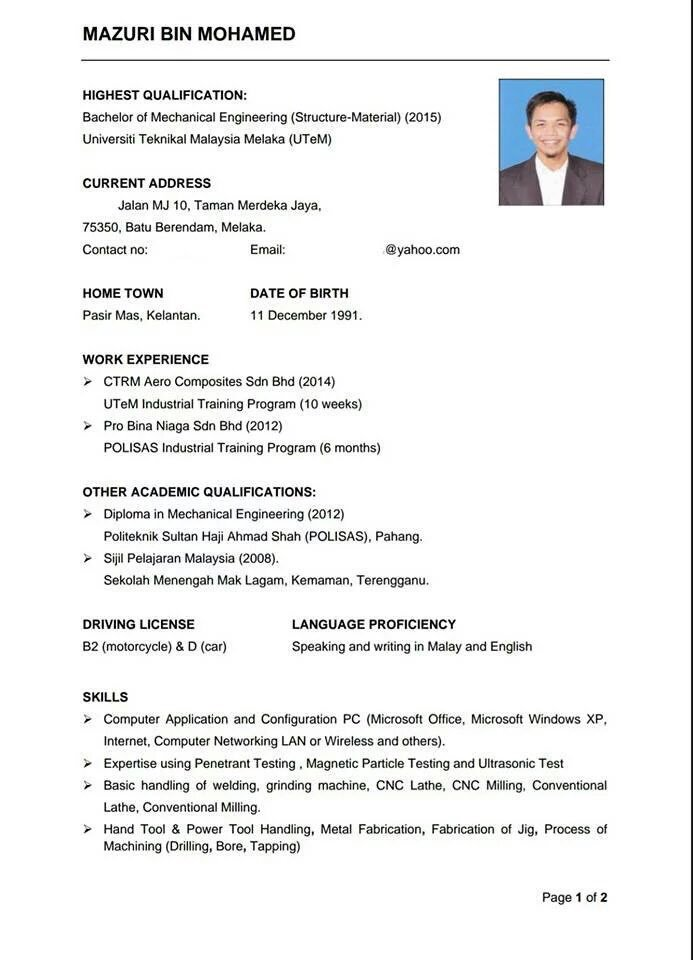 "Selangorian Yellowpagee On Twitter ""Ni Contoh Resume"