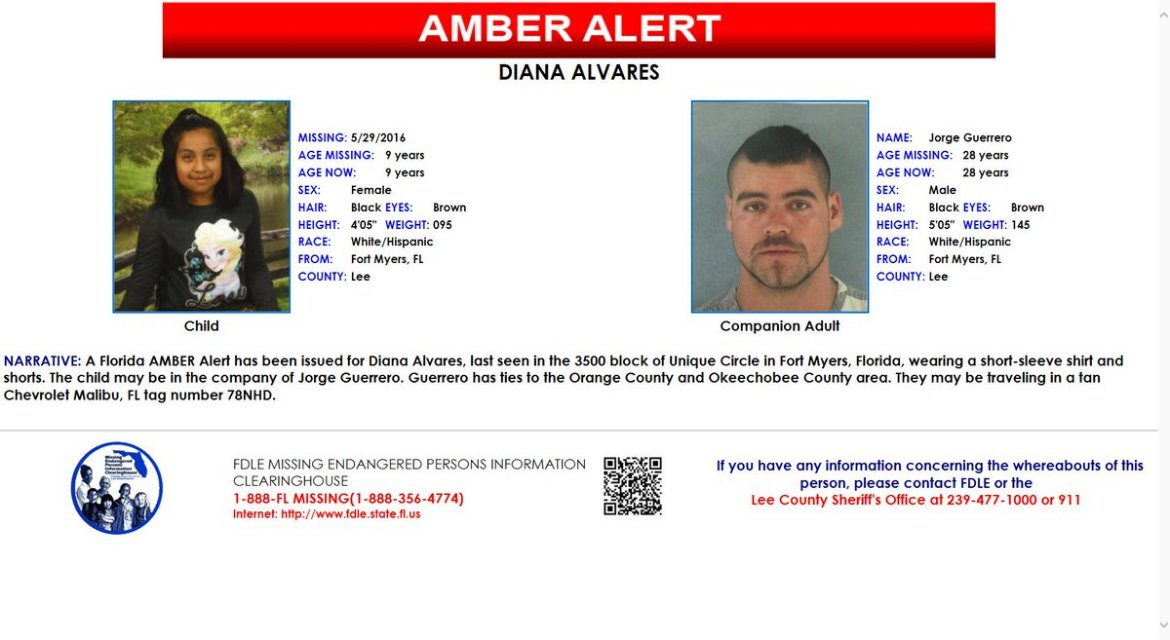 #AmberAlert issued for missing 9-year-old from Ft. Myers area. Plz RT.   MORE: