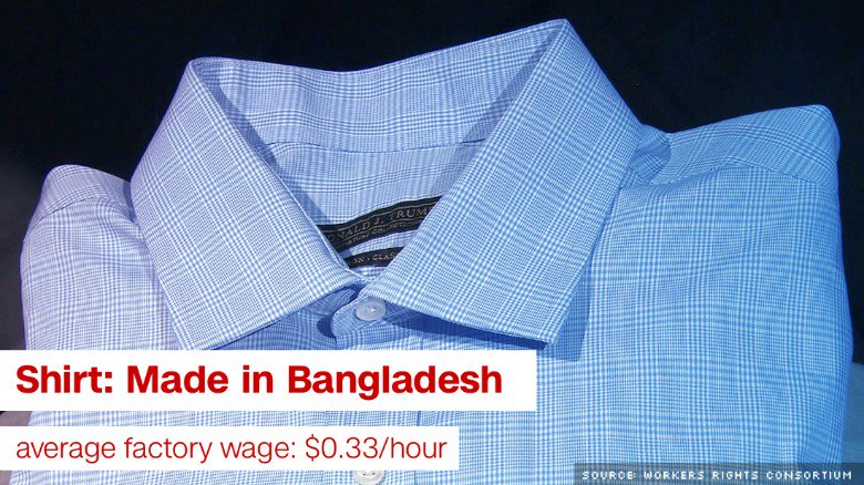 Clothing bearing Donald Trump's name is produced abroad in countries with very low wages.