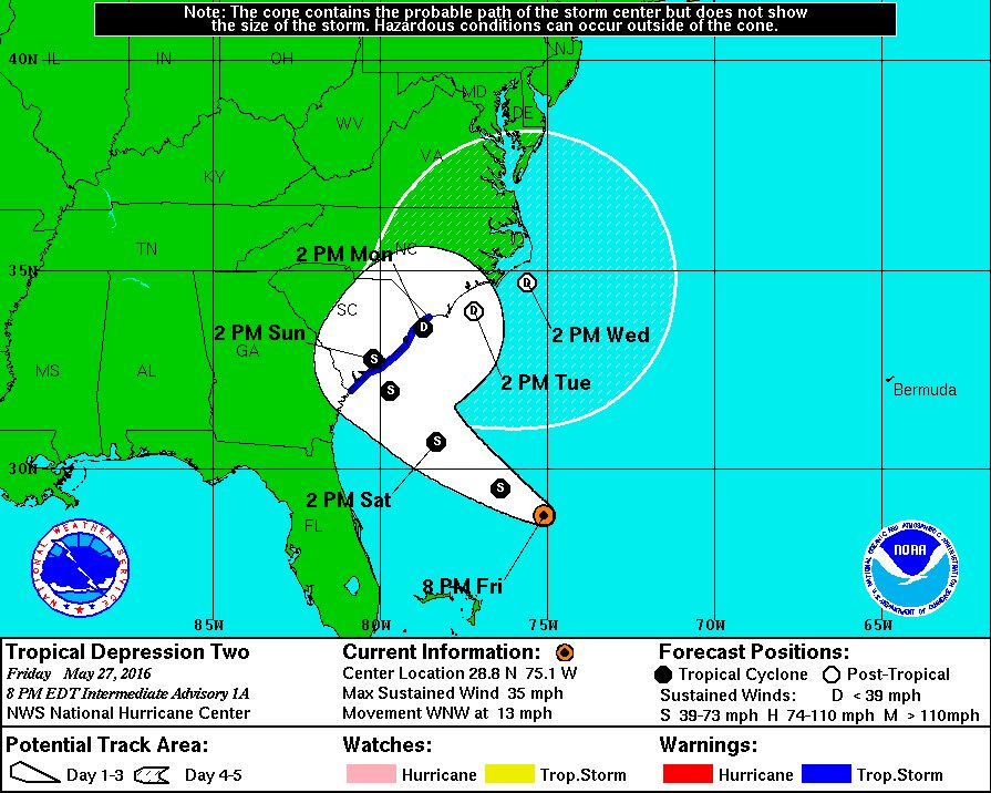 Tropical storm warning issued for SC coast after tropical depression forms & moves toward US