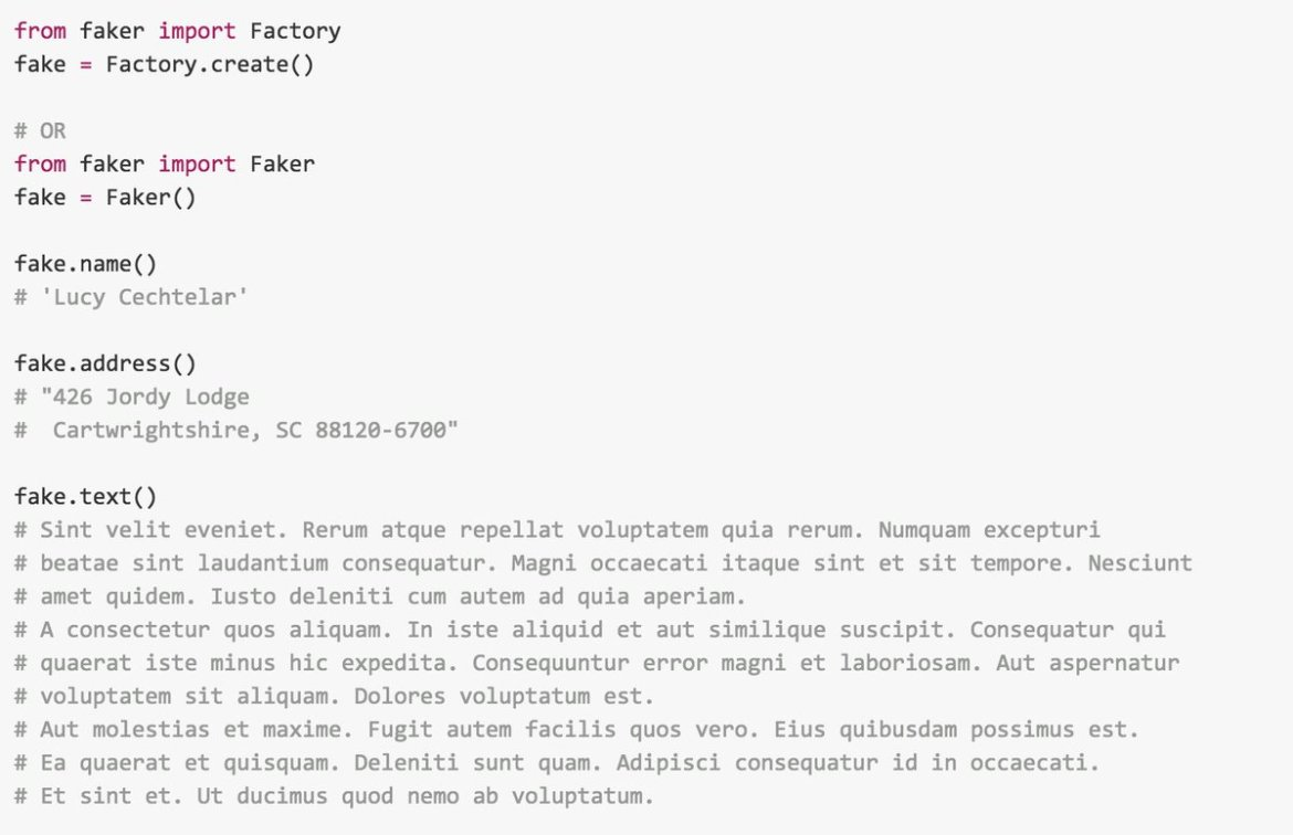 Faker: a #Python package that generates fake data for you. #programming