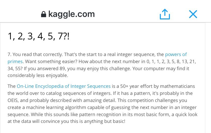 Check out @kaggle's new Integer Sequence Learning competition:  #MachineLearning #math