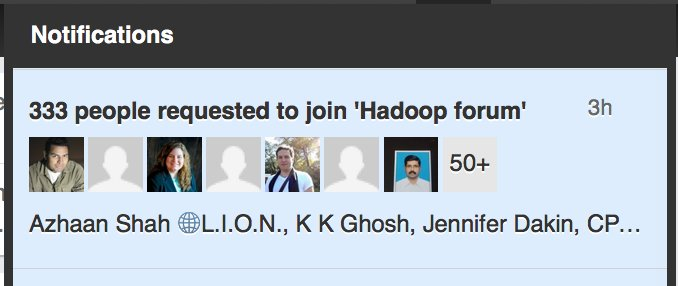 . Building Communities:  I'd love you to join our @Hadoop #bigdata group  =>  .