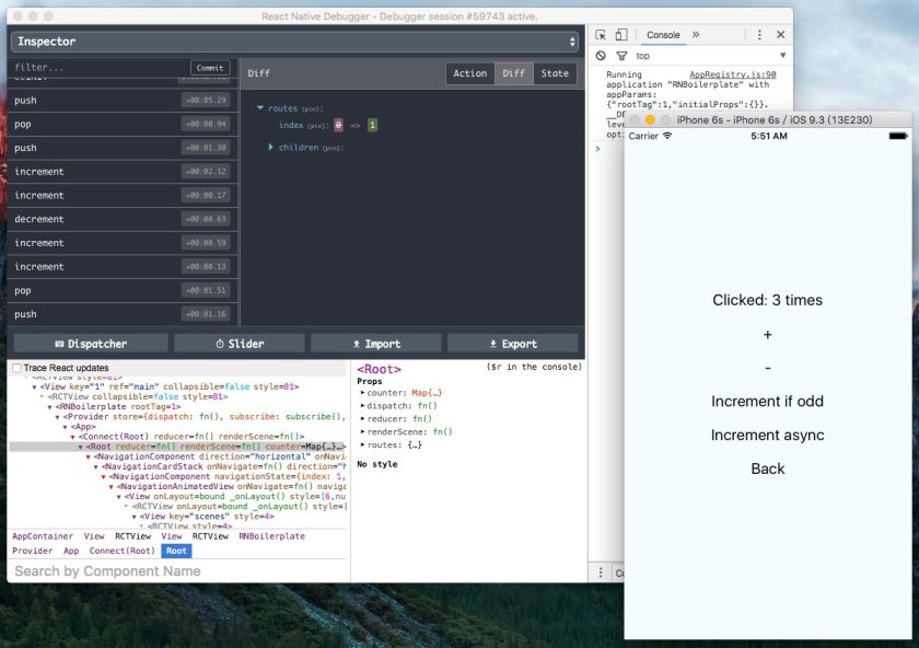 react-native-debugger Debug React Native apps. Includes React DevTools and Redux Dev Tools