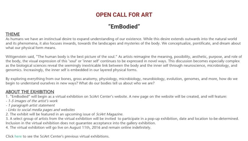 Open call for #SciArt! Submit to our next art show