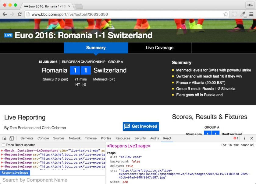 BBC sports #EURO2016 coverage at   is powered @reactjs . Thanks to @moogster31 for the hint