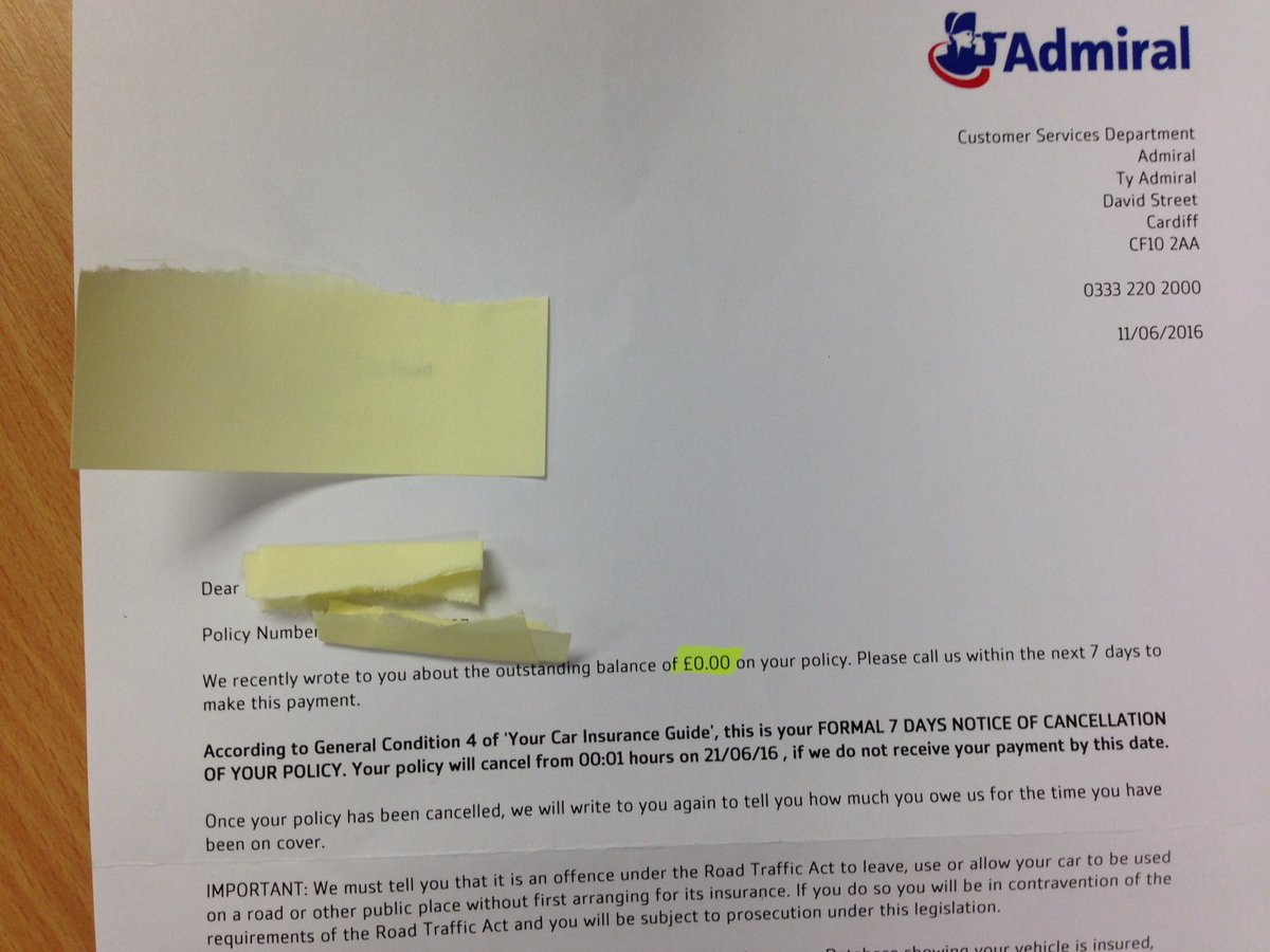 Donald Chun Ho Hung On Twitter Received Email And Letter The Outstanding Balance Of 0 Admiraluk Admiral Insurance Wtf Cancellation