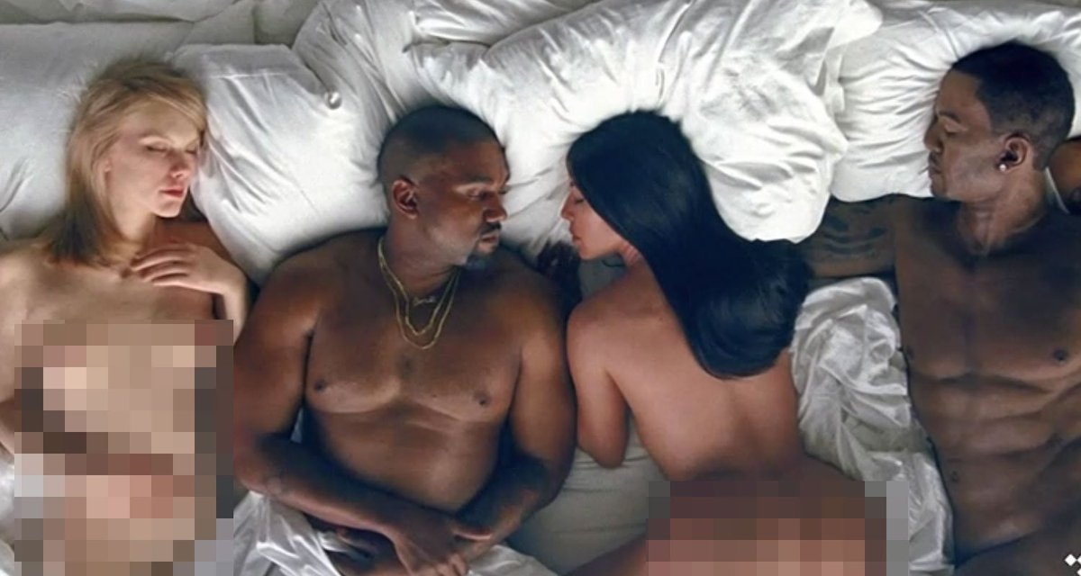 Taylor Swift look-a-like nude next to Kanye West and Kim Kardashian in