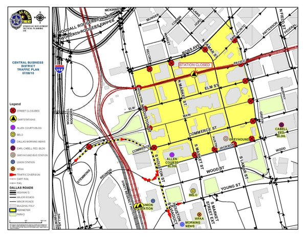 Map Area of downtown Dallas in yellow closed to public