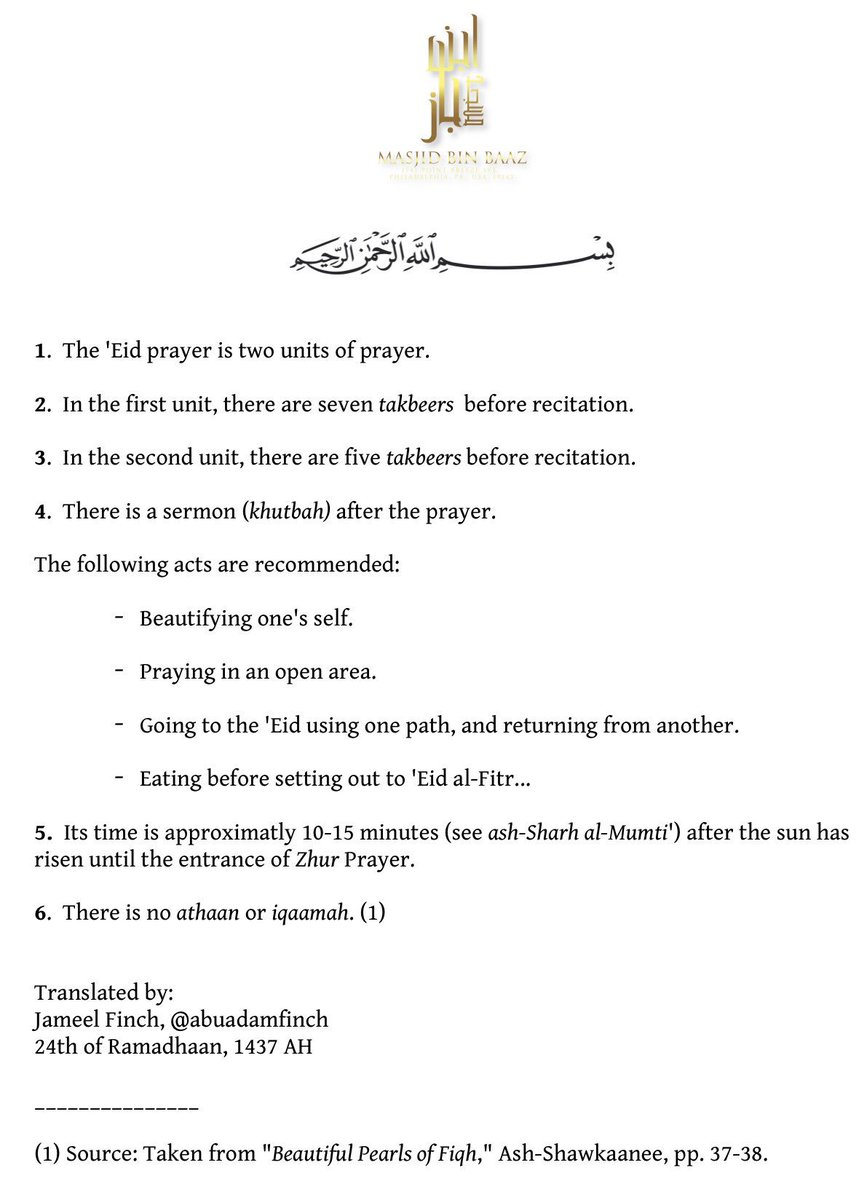 "Masjid Ibn Baaz On Twitter: ""a Concise Guide On Rulings For The 'eid  Prayer:… """