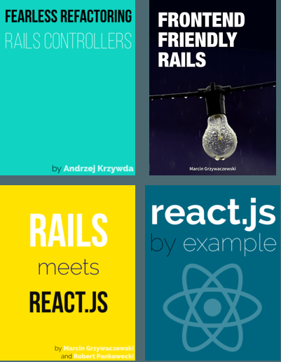Giveaway: 4 Rails and React.js Ebooks by Arkency